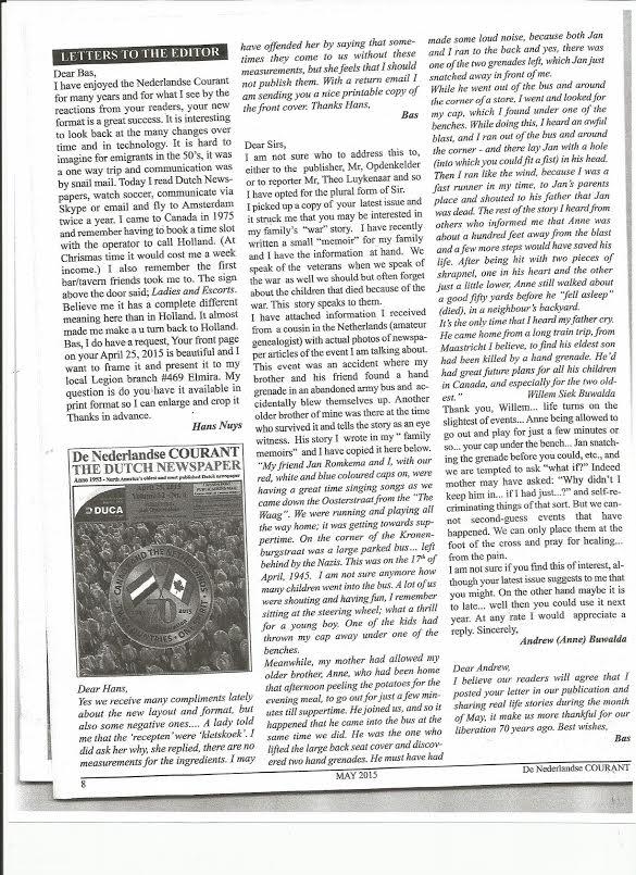 Canadees-Ned. krant over ongeluk met Jan Romkema17.4.45